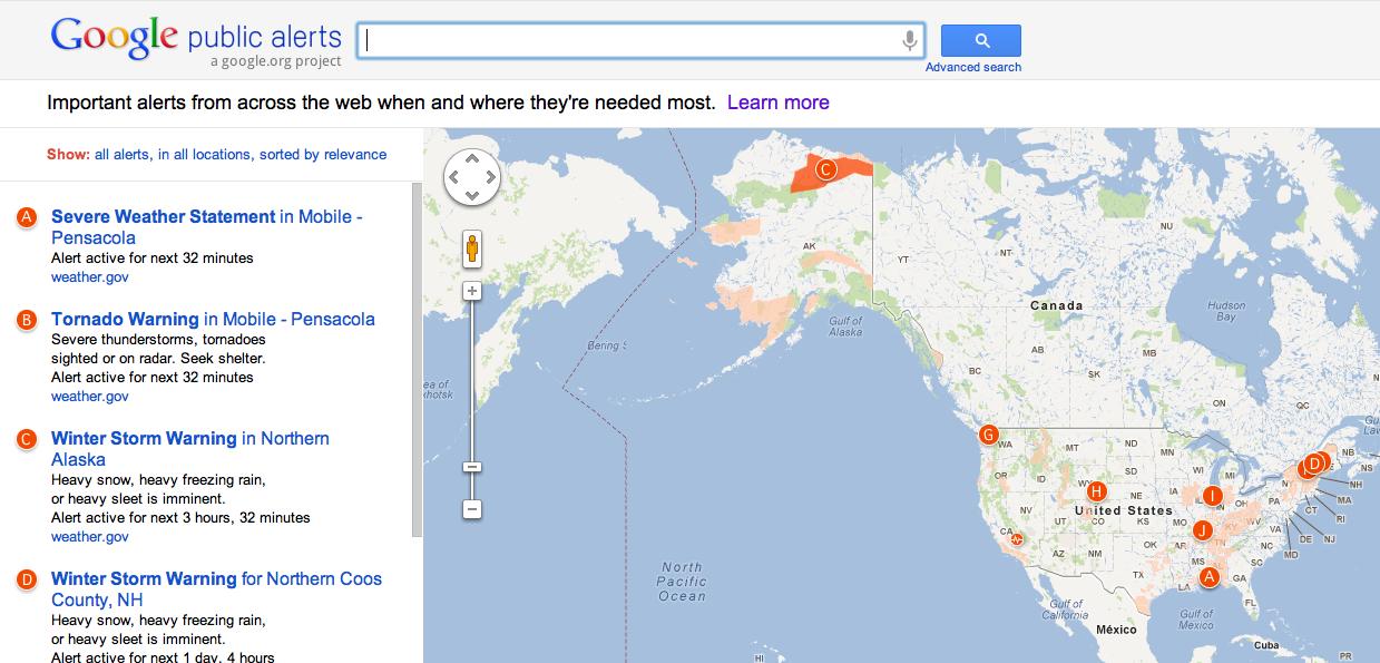 Google Public Alerts: un servizio per comunicazioni in caso d'emergenza