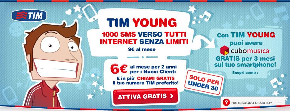 Tim Young: Internet illimitato e 1000 SMS per chi ha meno di 30 anni