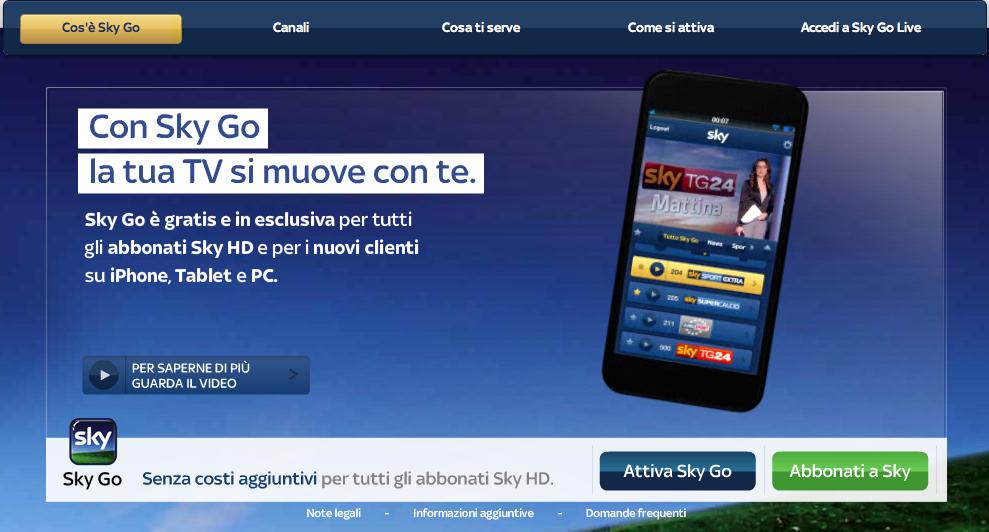 Sky go per iPhone: ora sky  si vede ovunque