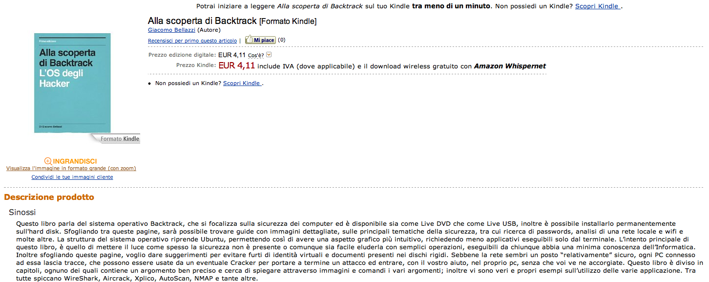 "Il libro ""Alla scoperta di Backtrack"" è disponibile su Amazon.it Kindle Store"